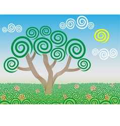 Tree in the field vector image
