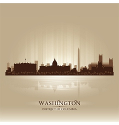 Washington District of Columbia skyline city silho vector image