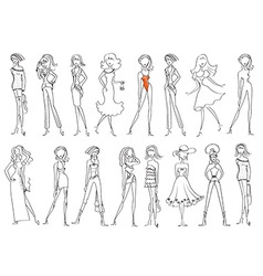 Women in fashion clothes isolated on white vector image vector image