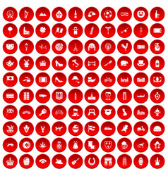 100 europe icons set red vector image