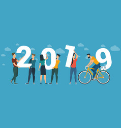 2019 happy new year concept vector image