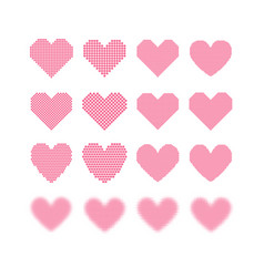 a set of halftone hearts vector image