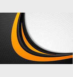 abstract orange black grey wavy background vector image