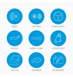 Accumulator brakes and steering wheel icons vector image