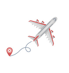 airplane plane airliner icon with start point and vector image