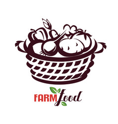 backet vegetables farm food stylized sketch vector image
