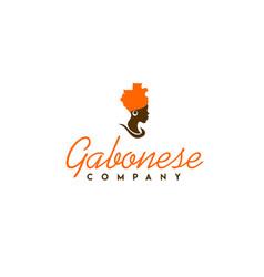 Beautiful african woman with gabon map logo design vector