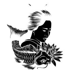 beautiful geisha women with koi carp fishhand vector image