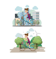 Bicycle woman ride city eco vector