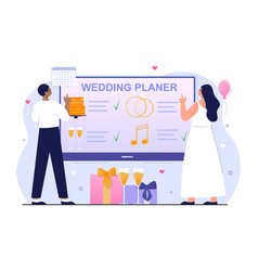 bride and groom are planning wedding ceremony vector image