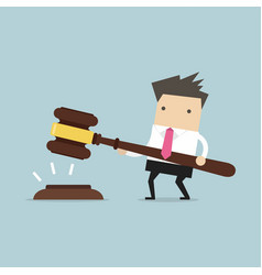 businessman hold a big gavel in hands for justice vector image