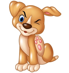Cartoon baby dog scratching an itch isolated vector image