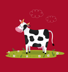 cartoon black and white cow vector image