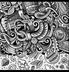 cartoon cute doodles hand drawn beer fest frame vector image