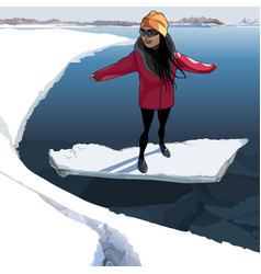 Cartoon happy girl on the ice that floats on the vector
