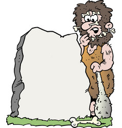 Cartoon of a caveman looking at a big stone vector