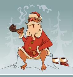 Cartoon santa claus barefoot smokes a pipe while vector