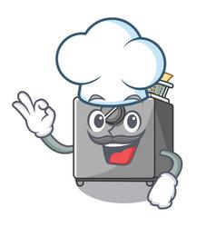 Chef character deep fryer on restaurant kitchen vector