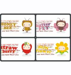 childish horizontal business cards vector image vector image