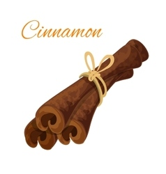 Cinnamon bark sticks spice isolated icon vector image