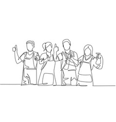cleaning service teamwork concept one line vector image