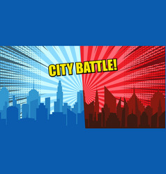 comic city battle concept vector image