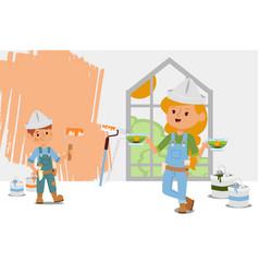 Construction team take break at tea inside vector