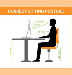 correct sit position posture ergonomic computer vector image