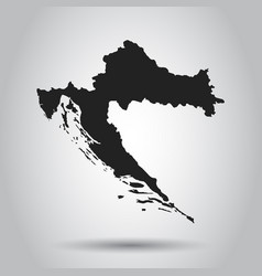 Croatia map black icon on white background vector