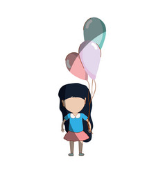 cute girl with balloons in the hand vector image