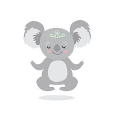 cute koala bear meditating sweet grey humanized vector image