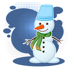 cute white snowman in a cold winter can be used vector image