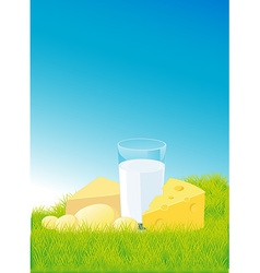 dairy products lying on green grass - vector image