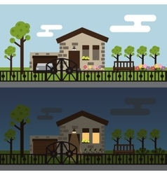 Day and night townhouse landscape vector