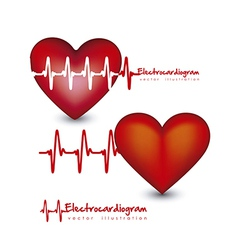 Different types hearts with heart beat isolated on vector