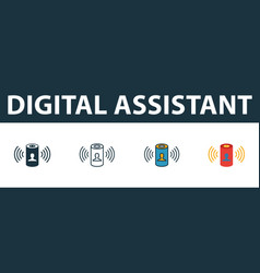 Digital assistant icon set four simple symbols vector