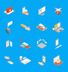 digital medicine 3d icons set isometric view vector image