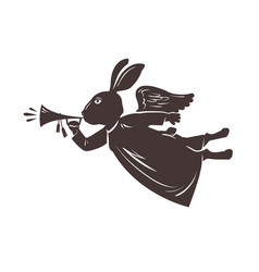 easter symbol rabbit plays trumpet vector image
