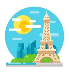 Eiffel tower flat design landmark vector