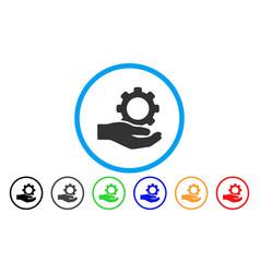 engineering service gear hand rounded icon vector image vector image