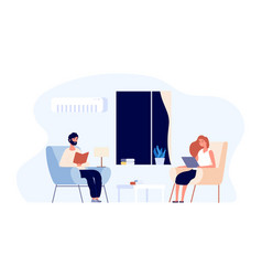 evening family time hygge concept flat couple vector image