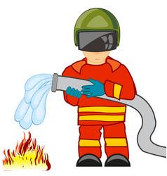 Fireman in worker defensive suit extinguish fire vector
