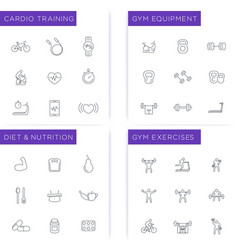 fitness workout gym diet training icons set vector image