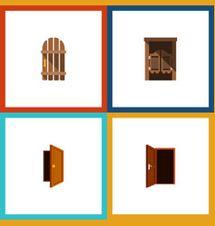 Flat icon door set of saloon approach wooden vector