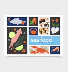 flat seafood infographic template vector image