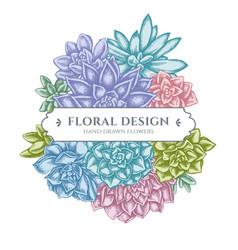 Floral bouquet design with pastel succulent vector