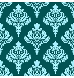 Floral seamless pattern with blue flowers on dark vector image