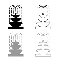 Fountain tier water icon outline set black vector