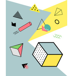 geometric elements in the memphis style colorful vector image