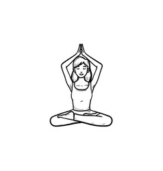 girl in lotus pose with her hands up hand drawn vector image